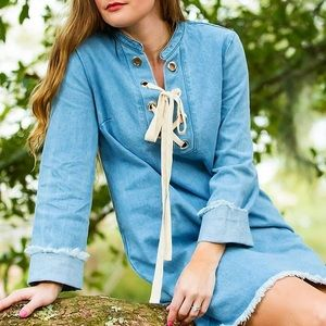 Dresses & Skirts - Denim Dress with lace up collar